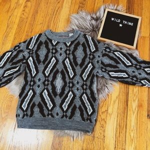 Vintage wool sweater boho print gray black white